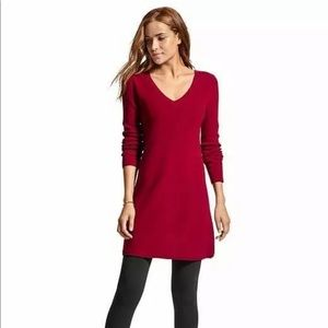 Athleta Red Nordic Sweater Dress Long Sleeved